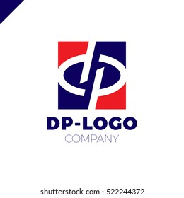 Letter D and letter P logo. pd, dp initial overlapping in square letter logotype blue and red