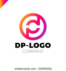 Letter D and letter P logo. pd, dp initial overlapping in circle letter logotype rainbow color