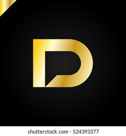 Letter D and letter P logo. pd, dp initial with chat icon letter logotype luxury, royal gold