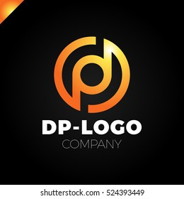 Letter D and letter P logo. pd, dp initial overlapping in circle letter logotype orange