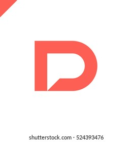 Letter D and letter P logo. pd, dp initial with chat icon letter logotype orange