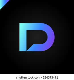 Letter D and letter P logo. pd, dp initial with chat icon letter logotype blue