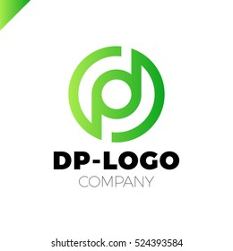Letter D and letter P logo. pd, dp initial overlapping in circle letter logotype green
