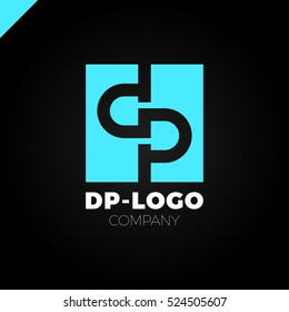 Letter D and letter P logo. pd, dp initial overlapping in square letter logotype colorful