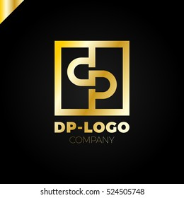 Letter D and letter P logo. pd, dp initial overlapping in square letter logotype gold