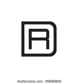 letter D and R monogram square shape logo black