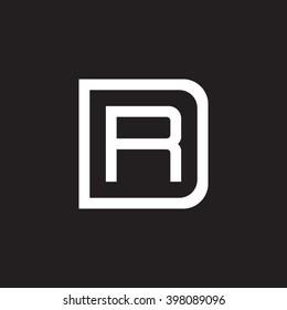 letter D and R monogram square shape logo white black background