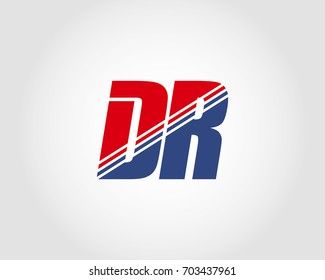 Letter D and R red and blue combination logo