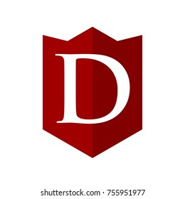 letter d and shield vector logo