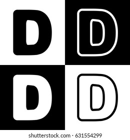 Letter D sign design template element. Vector. Black and white icons and line icon on chess board.