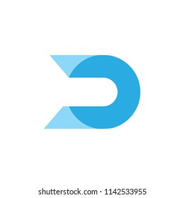 letter d simple circle abstract logo vector