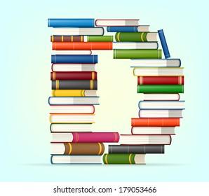 Letter D. Stack of multi colored books vector illustration