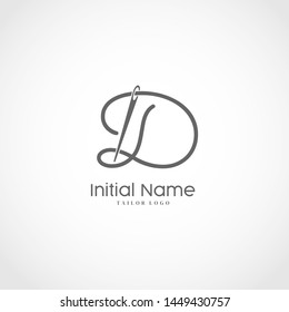 Letter D Tailor Logo. Needle With Thread Vector Icon. Lettering logo Tailor For Initial Name or Brand.