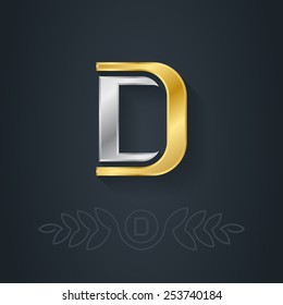 Letter D. Template for company logo with monogram element. 3d Design element or icon. Vector elegant gold and silver font.