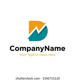 letter D trade marketing logo design vector. initial D and chart diagram graphic concept. company, corporate, business, finance symbol icon.