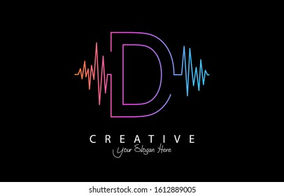 Letter D Trendy Design Logo Concept. Creative Icon Logo with Sound Wave Vector Illustration.