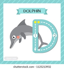 Letter D uppercase cute children colorful zoo and animals ABC alphabet tracing flashcard of Dolphin for kids learning English vocabulary and handwriting vector illustration.