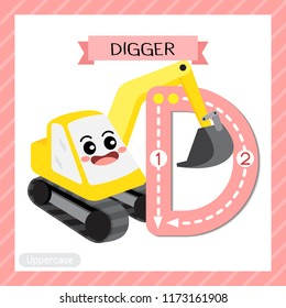 Letter D uppercase cute children colorful transportations ABC alphabet tracing flashcard of Digger for kids learning English vocabulary and handwriting Vector Illustration.