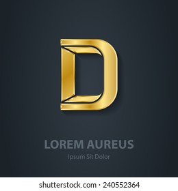 Letter D. Vector elegant gold font. Template for company logo. Metallic Design element or icon.
