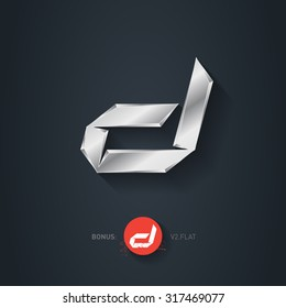 Letter D Vector Silver Font Elegant Template For Company Logo Metallic Design Element