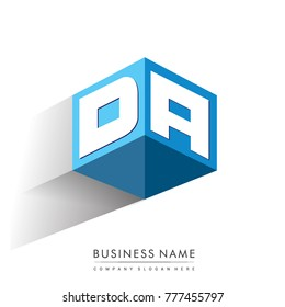 Letter DA logo in hexagon shape and blue background, cube logo with letter design for company identity.