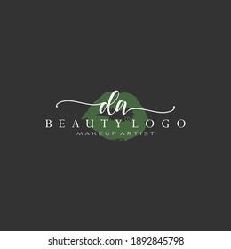 Letter DA Watercolor Lips Premade Logo Design, Logo for Makeup Artist Business Branding, Blush Beauty Boutique Logo Design, Calligraphy Logo
