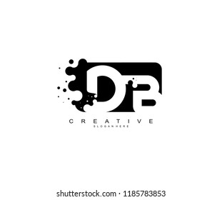 Letter DB Logo Design Vector with Abstract Square Shape Dots