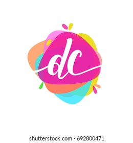 Letter DC logo with colorful splash background, letter combination logo design for creative industry, web, business and company.