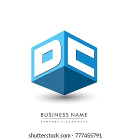 Letter DC logo in hexagon shape and blue background, cube logo with letter design for company identity.