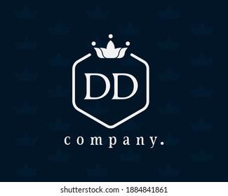 Letter DD, D crown monogram. Luxury royal style design with the hexagon shape. Elegant calligraphic vintage design for book design, brand name, business card, restaurant, boutique, hotel, cafe, badge.