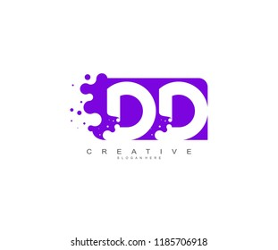 Letter DD Logo Design Vector with Abstract Square Shape Dots
