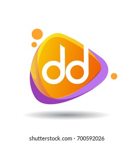 Letter DD logo in triangle splash and colorful background, letter combination logo design for creative industry, web, business and company.