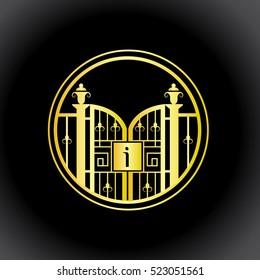i letter decorative golden fence vector monogram, logo, sign symbol icon