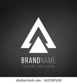 Letter A or delta geometric triangle logo design. Business identity tech element. Stock Vector illustration isolated on black background.