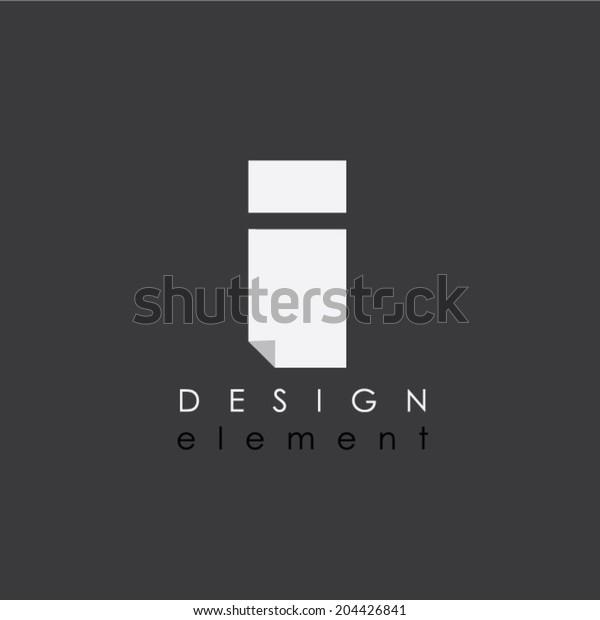 I letter design element in flat design style for business
