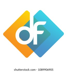 Letter DF logo with colorful geometric shape, letter combination logo design for creative industry, web, business and company.