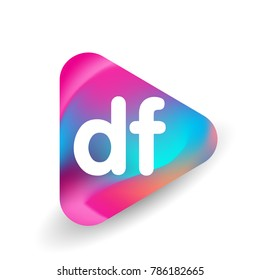 Letter DF logo in triangle shape and colorful background, letter combination logo design for business and company identity.
