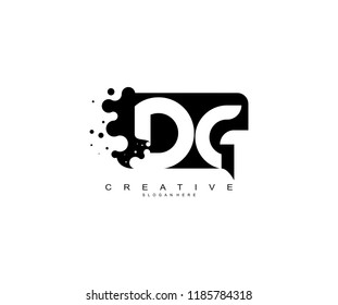 Letter DG Logo Design Vector with Abstract Square Shape Dots