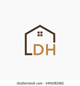 letter DH Line House Real Estate Logo. home initial D H concept. Construction logo template, Home and Real Estate icon. Housing Complex Simple Vector Logo Template. - vector