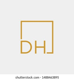 letter DH Logo design with square frame line art. business consulting concept. studio icon - vector