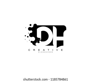 Letter DH Logo Design Vector with Abstract Square Shape Dots