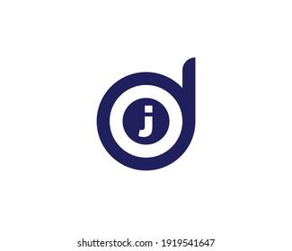 letter dj and jd logo design vector template