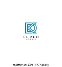 Letter DK KD logo icon design template elements