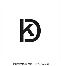 letter dk simple linked line logo vector