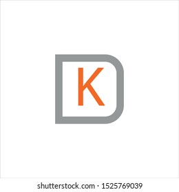 Letter dk simple linked line logo vector design
