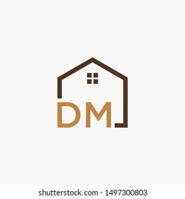 letter DM Line House Real Estate Logo. home initial D M concept. Construction logo template, Home and Real Estate icon. Housing Complex Simple Vector Logo Template. - vector