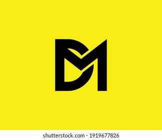 letter dm and md logo design vector template