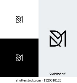 Letter DM or MD logo designs