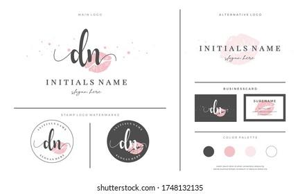letter DN D N Initial handwriting logo template with lipstick kiss. Feminine branding for female, lips, makeup, girl or mouth
