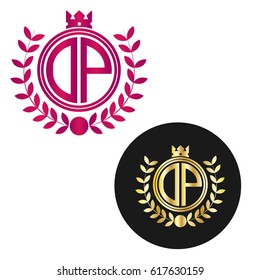 letter DP circle shape logo with crown and wheat icon